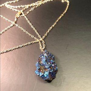 Natural brilliant blue Druzy necklace